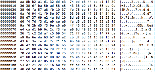 Hex dump of encrypted database